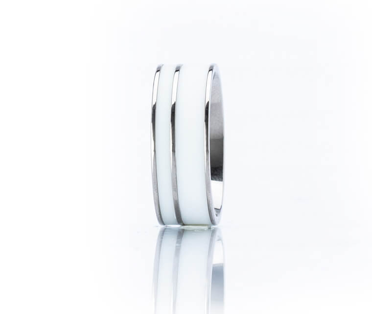 Warhol - Double Center  - 10k White Gold - 7mm