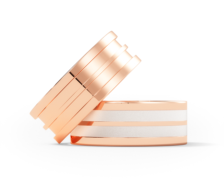 Warhol - Double Center  - 10k Rose Gold - 7mm