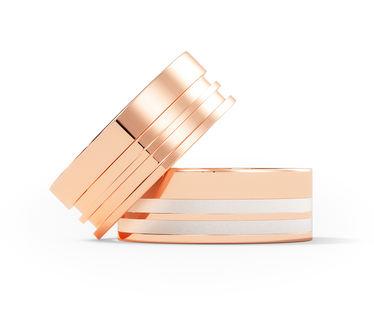 Cassat - Double Offset - 18k Rose Gold Ring - 7mm